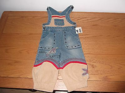 NWT - Beetlejuice - floral patterned dungarees - age 12mths