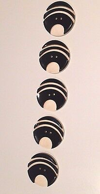 5 Vintage Art Deco Carved & Layered Black/Cream Buttons