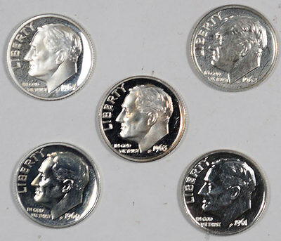 1960-1964 Silver Proof Roosevelt Dimes, Lot Of 5, High Grade Proof Examples!