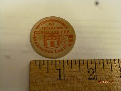 10 cent cup coffee Sambo's wooden nickel good anywhere token trade advertising
