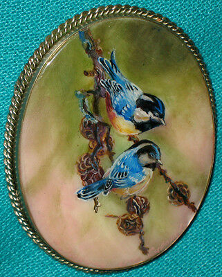 """AMAZING! """"Two Blue Birds"""" Russian Hand Painted Fedoskino MOP BROOCH/PIN"""