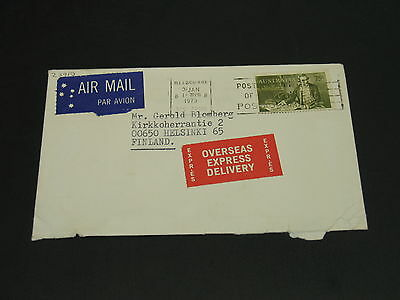 Australia 1973 express Airmail cover to Finland rough opening *23910