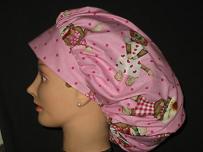 Surgical Scrub Hats/Caps Valentines Days pink with Cute Sock Monkeys