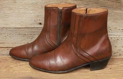 Mens Vintage Stacy Adams Side Zip Leather Beatle Ankle Boots Sz 9M
