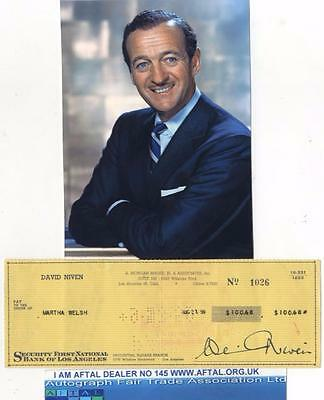 David Niven vintage signed Bank Cheque / Check AFTAL