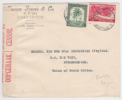 Belgian Congo Elisabethville Double-Censored Cover- South Africa