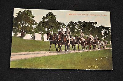 Wwi Us Army Postcard 'machine Gun Battery Coming Into Action' Unused & Scarce