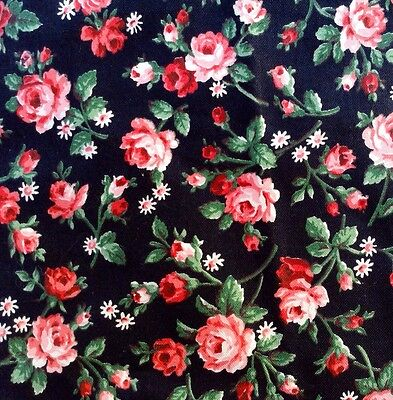 """VINTAGE 38x46"""" GLAZED COTTON CHINTZ FLORAL CALICO FABRIC RED PINK ROSES COTTAGE"""