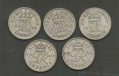 GVI 5x 6d Silver 1941- 47- 48 - 49 - 50.Study 2 Picture's for condition.