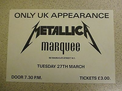 Metallica Live at the Marquee 27-03-84 A5 Gig Flyer Original AAA+++ Very Rare