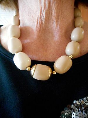 Authentic Vintage Napier Cream & Taupe Bead Necklace w/Gold Beads