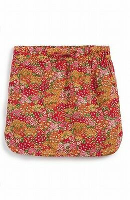 Peek NEW Pink Yellow Girl's Size XL 10 Floral Print Drawstring Skirt $58 DEAL