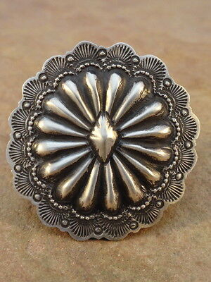 Big Old Style Navajo Sterling Silver Concho Ring sz 8
