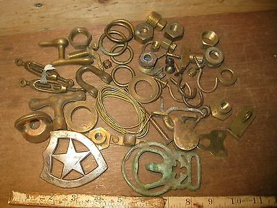 antique brass hardware lot vintage hooks turn belt buckle pulley rings hardware