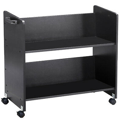 Heavy Duty Book Cart Library Cart Magazine Rack Moving Cart Rolling Book Trolley