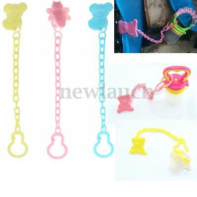 2pcs Baby Pacifier Soother Dummy Nipple Dummy Chain Clip Holder Buckle Animal US
