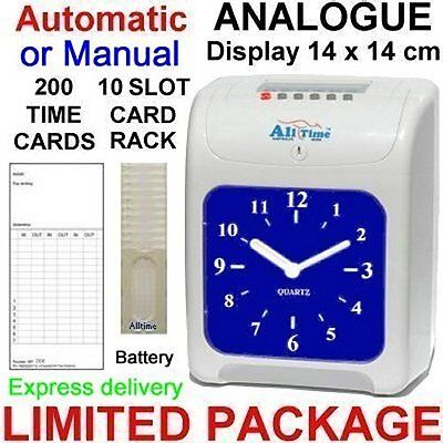 Electronic Employee Time Attendance Bundy Time Clock Recorder Timecards + rack