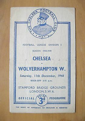 CHELSEA v WOLVES 1948/1949 *Fair Condition Football Programme*