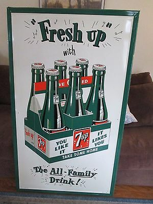 "Rare! 1950's 7 up  ""Fresh Up"" The All-Family Drink! Sign SST 59"" x 35"""