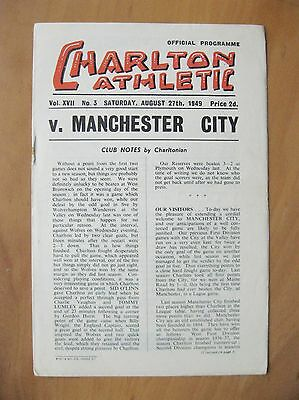 CHARLTON ATHLETIC v MANCHESTER CITY 1949/1950 *Exc Condition Football Programme*