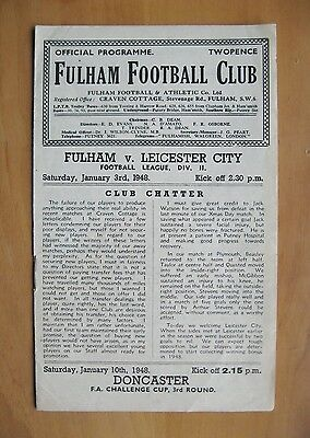 FULHAM v LEICESTER CITY 1947/1948 *Excellent Condition Football Programme*