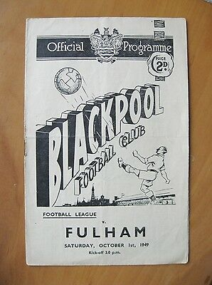BLACKPOOL v FULHAM 1949/1950 *VG Condition Football Programme*