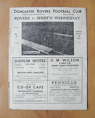DONCASTER ROVERS v SHEFFIELD WEDNESDAY 1947/1948 *Good Cond Football Programme*