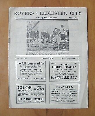 DONCASTER ROVERS v LEICESTER CITY 1951/1952 *VG Condition Football Programme*