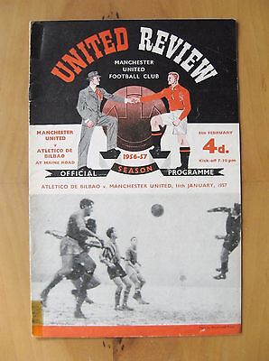 MANCHESTER UNITED v ATHLETIC BILBAO European Cup 1956/1957 *Good Cond Programme*
