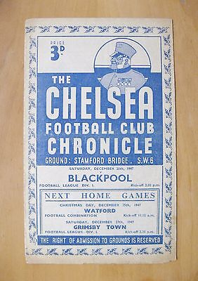 CHELSEA v BLACKPOOL 1947/1948 *VG Condition Football Programme*