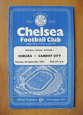 CHELSEA v CARDIFF CITY 1954/1955 *VG Condition Football Programme*