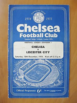 CHELSEA v LEICESTER CITY 1954/1955 *VG Condition Football Programme*