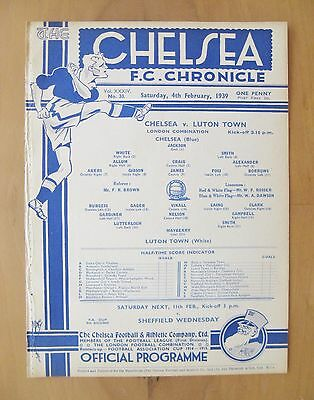 CHELSEA v LUTON TOWN Reserves 1938/1939 *Excellent Condition Football Programme*