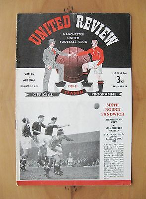 MANCHESTER UNITED v ARSENAL 1950/1951 *Excellent Condition Football Programme*