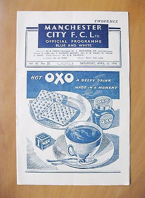 MANCHESTER CITY v BOLTON WANDERERS 1947/1948 *Exc Condition Football Programme