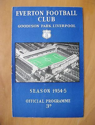 EVERTON v MANCHESTER UNITED 1954/1955 *Excellent Condition Football Programme*