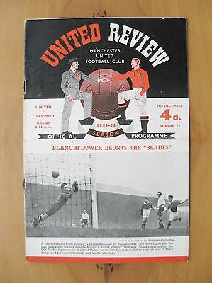 MANCHESTER UNITED v LIVERPOOL 1953/1954 *VG Condition Football Programme*