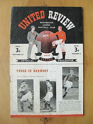 MANCHESTER UNITED v NEWCASTLE UNITED 1949/1950 *Good Cond Football Programme*