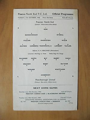 PRESTON NORTH END v PETERBOROUGH UNITED League Cup 1960/1 VG Condition Programme