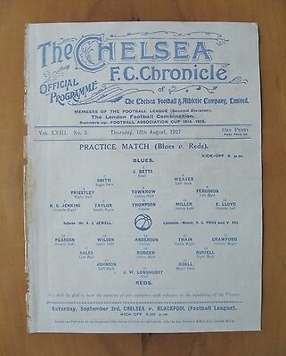 CHELSEA - Practice Match Friendly 1927/1928 (18th August) *Good Cond Programme*