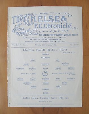 CHELSEA - Practice Match Friendly 1928/1929 (13th August) *Good Cond Programme*