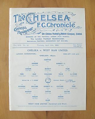 CHELSEA v WEST HAM UNITED Reserves 1923/1924 (10th April) *Exc Cond Programme*