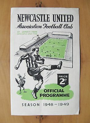 NEWCASTLE UNITED v MANCHESTER CITY 1948/1949 *Exc Condition Football Programme*