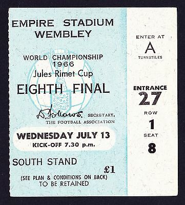 1966 World Cup FRANCE v MEXICO *VG Condition Ticket*