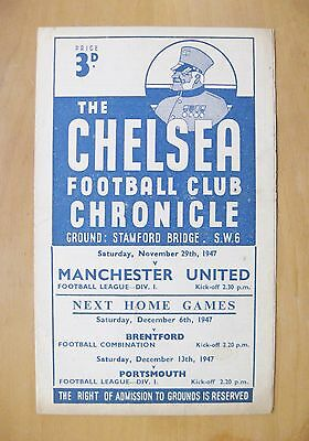 CHELSEA v MANCHESTER UNITED 1947/1948 *VG Condition Football Programme*