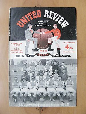 MANCHESTER UNITED v ANDERLECHT European Cup 1956/1957 1st Euro Home In Good Cond