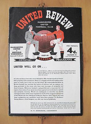 MANCHESTER UNITED v SHEFFIELD WEDNESDAY FA Cup 1957/1958 *VG Condition - Munich*