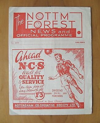NOTTINGHAM FOREST - FA XI v Combined XI Testimonial Friendly 1946/1947 *VG Cond*