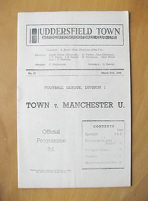 HUDDERSFIELD TOWN v MANCHESTER UNITED 1947/1948 Exc Condition Football Programme