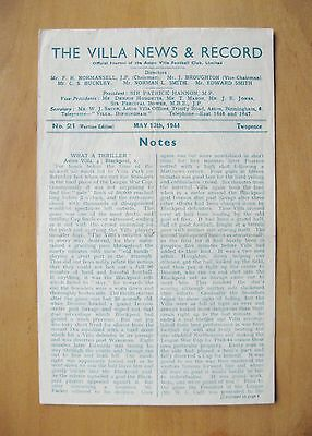 ASTON VILLA v PORTSMOUTH Charity Friendly 1943/1944 Exc Cond Football Programme